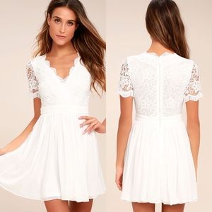 Lulu's Angel in Disguise White Lace Skater Dress